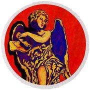 Angel On Red Round Beach Towel