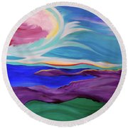 Round Beach Towel featuring the painting Angel Sky by First Star Art
