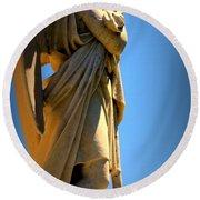 Angel Watching Round Beach Towel