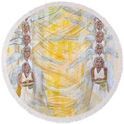 Round Beach Towel featuring the painting Angel Winds Flames Of Fire by Cassie Sears