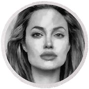 Round Beach Towel featuring the painting Angelina Jolie Black And White by Georgi Dimitrov