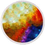 Angels Among Us - Emotive Spiritual Healing Art Round Beach Towel