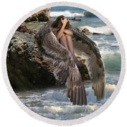 Angels- God Has Sent His Spirit To Comfort You And Heal You Round Beach Towel