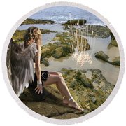 Angels- His Spirit Will Comfort You Round Beach Towel
