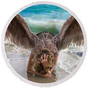 Angels- I Will Not Give Up On You Round Beach Towel
