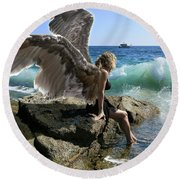 Angels- I'm Watching Over You Round Beach Towel