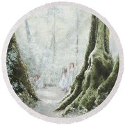 Angels In The Mist Round Beach Towel