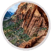 Angels Landing Trail From High Above Zion Canyon Floor Round Beach Towel by Gary Whitton