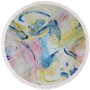 Round Beach Towel featuring the painting Angels Lingering by Asha Carolyn Young