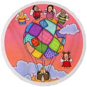 Angels With Hot Air Balloon Round Beach Towel