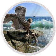 Angels- Yes I'm With You Round Beach Towel