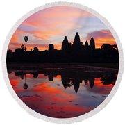 Angkor Wat Sunrise Round Beach Towel by Alexey Stiop