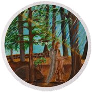 Round Beach Towel featuring the painting Angle In Idyllwild by Cassie Sears