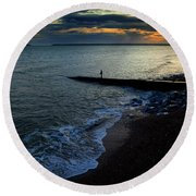 Angling From A Slipway,youghal,county Round Beach Towel