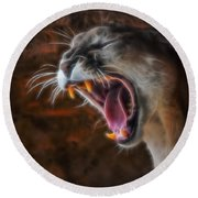 Angry Cougar Round Beach Towel