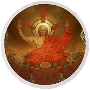 Angry God Mosaic At The Shrine Of The Immaculate Conception In Washington Dc Round Beach Towel