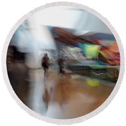 Round Beach Towel featuring the photograph Angularity by Alex Lapidus