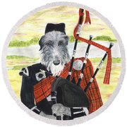Angus The Piper Round Beach Towel
