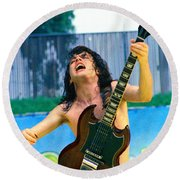 Angus Young Of A C D C At Day On The Green Monsters Of Rock  7-21-79  Round Beach Towel