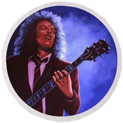 Angus Young Of Ac / Dc Round Beach Towel by Paul Meijering