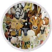 Animal Allsorts Oil On Canvas Round Beach Towel