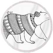 Animal Bear Round Beach Towel