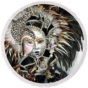 Round Beach Towel featuring the photograph Animal Print Mask by Donna Corless