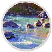 Animas River Fly Fishing Round Beach Towel