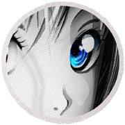 Anime Girl Eyes 2 Black And White Blue Eyes Round Beach Towel