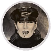 Anjelica Huston Round Beach Towel by Paul Meijering