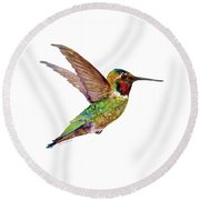 Anna Hummingbird Round Beach Towel by Amy Kirkpatrick