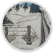 Round Beach Towel featuring the painting Anna Koss Farm by Jeffrey Koss