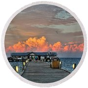 Anna Maria City Pier Round Beach Towel by HH Photography of Florida