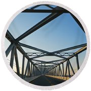 Annapolis Bay Bridge At Sunrise Round Beach Towel by Emmy Marie Vickers