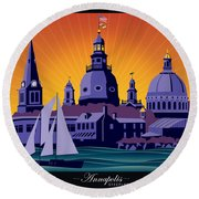 Annapolis Steeples And Cupolas Round Beach Towel