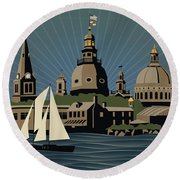 Annapolis Steeples And Cupolas Serenity Round Beach Towel