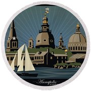 Annapolis Steeples And Cupolas Serenity With Border Round Beach Towel