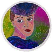 Round Beach Towel featuring the painting Annebel Lee by Joan Reese