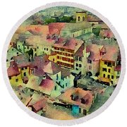 Round Beach Towel featuring the photograph Annecy Rain by Susan Maxwell Schmidt