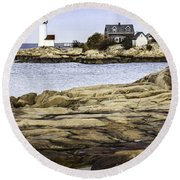Round Beach Towel featuring the photograph Annisquam Light by Betty Denise