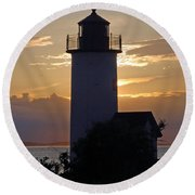 Annisquam Lighthouse Sunset Round Beach Towel by Richard Bryce and Family