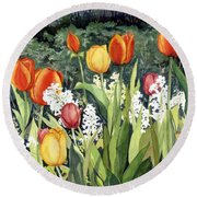 Ann's Tulips Round Beach Towel