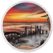 Another Bloody Sunset Round Beach Towel