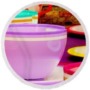 Round Beach Towel featuring the photograph Another Cup Of Tea by Benjamin Yeager