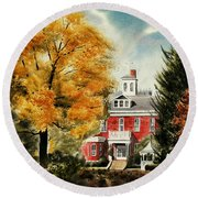 Round Beach Towel featuring the painting Antebellum Autumn II by Kip DeVore