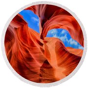Antelope Canyon Walls Round Beach Towel by Greg Norrell