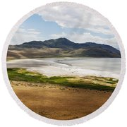 Round Beach Towel featuring the photograph Antelope Island by Belinda Greb