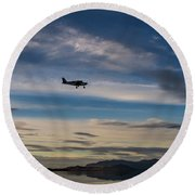 Round Beach Towel featuring the photograph Antelope Island - Lone Airplane by Ely Arsha