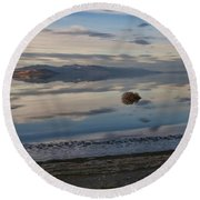 Round Beach Towel featuring the photograph Antelope Island - Lone Tumble Weed by Ely Arsha