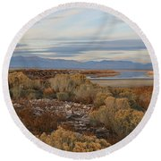 Round Beach Towel featuring the photograph Antelope Island - Scenic View by Ely Arsha